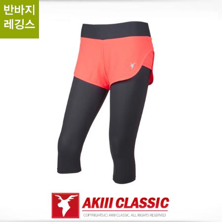 AKIII CLASSIC(AKIII CLASSIC) <br>第7部分掩盖了短裤打底裤短裤<br> - 运动服/健身<br>橙粉红色<br>